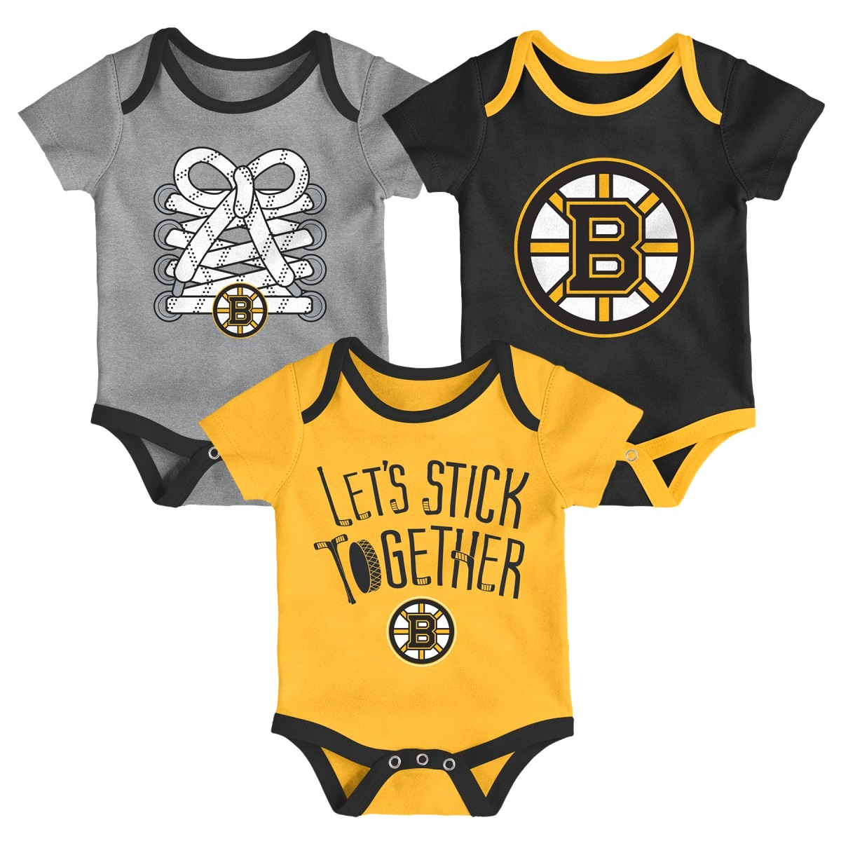 "Boston Bruins NHL ""Five on Three"" Infant 3 Pack Bodysuit Creeper Set"